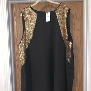 LANE BRYANT Black tank with gold sequins